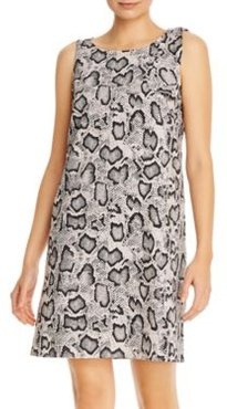 Snakeskin Print Sleeveless Shift Dress