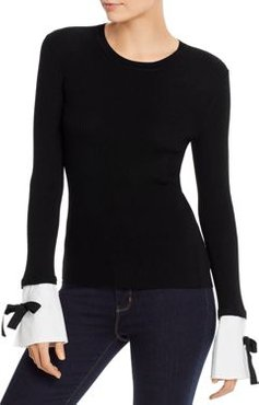 Ribbed Detachable-Cuff Wool Sweater