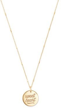 14k Gold Sweetheart Disc Pendant Necklace
