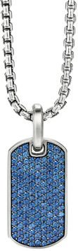 Streamline Tag Pendant with Pave Sapphires