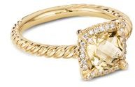 Petite Chatelaine Pave Bezel Ring in 18K Yellow Gold with Champagne Citrine