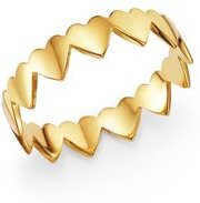 14K Yellow Gold Eternity Heart Ring