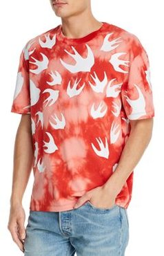 Cotton Tie-Dyed Swallow Graphic Tee