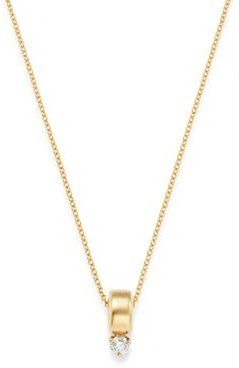 14K Yellow Gold Prong Diamonds Diamond Solitaire Pendant Necklace, 14-16