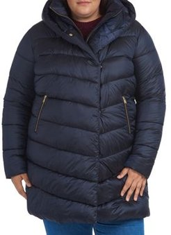 Plus Orchy Hooded Quilted Coat