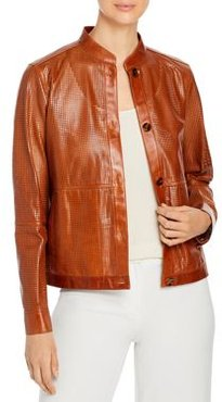 Becker Perforated Leather Bomber Jacket