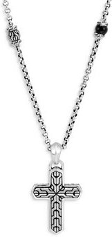 Sterling Silver Classic Chain Onyx Cross Pendant Necklace, 22