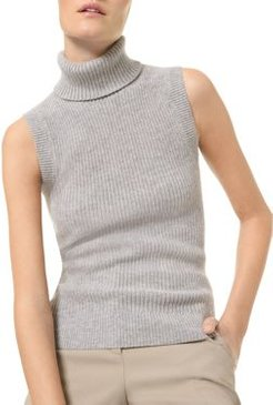 Cashmere Sleeveless Turtleneck Sweater