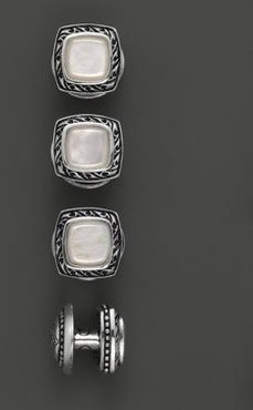 Sterling Silver Square Cufflink Set with Mother of Pearl