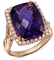 Amethyst Cushion & Diamond Statement Ring in 14K Rose Gold - 100% Exclusive