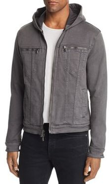 Hooded Zip-Front Knit Jacket