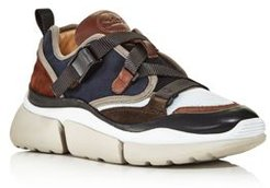 Sonnie Mixed-Media Low-Top Sneakers