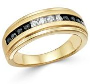 Black & White Diamond Band in Brushed 14K Yellow Gold - 100% Exclusive