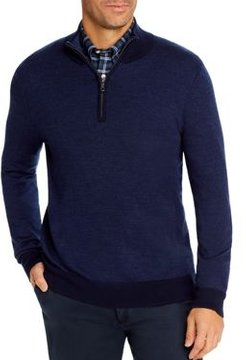 Birdseye Merino Wool Quarter-Zip Sweater
