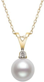 Diamond & Cultured Freshwater Pearl Pendant Necklace in 14K Yellow Gold, 16 - 100% Exclusive