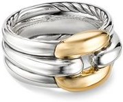 Sterling Silver Thoroughbred Cushion Link Ring with 18K Yellow Gold