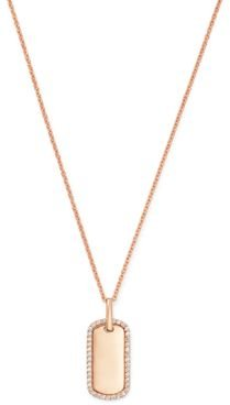Diamond Dog Tag Pendant Necklace in 14K Rose Gold - 100% Exclusive