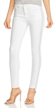 Braided-Seam Ankle Skinny Jeans in Clean White