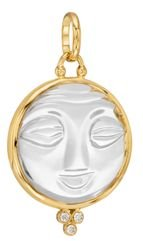 18K Yellow Gold Large Carved Crystal Moonface Pendant with Diamonds