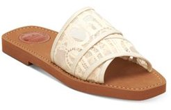Woody Square Toe Lace Logo Slide Sandals