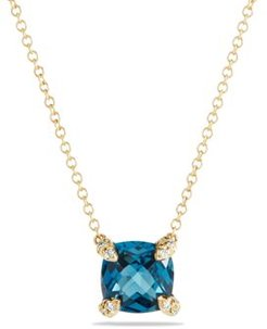 Chatelaine Pendant Necklace with Hampton Blue Topaz and Diamonds in 18K Gold