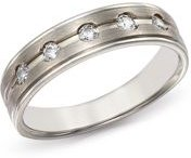 Diamond Five-Stone Band in Brushed 14K White Gold, 0.20 ct. t.w. - 100% Exclusive