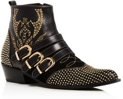 Penny Studded Leather Ankle Boots