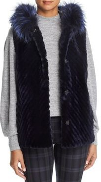 Reversible Sheared Beaver Fur & Leather Vest with Fox Fur Trim - 100% Exclusive