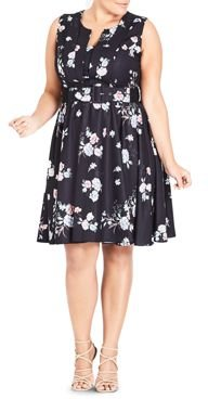 Sleeveless Belted Floral Print Dress