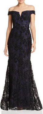 Off-the-Shoulder Embellished Lace Gown - 100% Exclusive