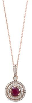 Ruby & Diamond Halo Pendant Necklace in 14K Rose Gold, 18 - 100% Exclusive