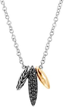 Sterling Silver & 18K Yellow Gold Classic Chain Black Sapphire & Black Spinel Spear Pendant Necklace, 18