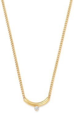 14K Yellow Gold Prong Diamonds Curved Bar Diamond Pendant Necklace, 14-16