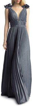 Pleated Shimmer Gown