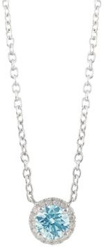 Halo Lab-Grown Diamond Pendant Necklace in Sterling Silver, 18