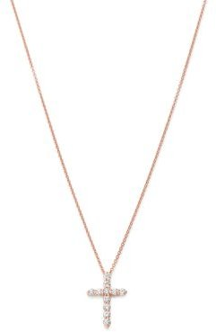 Diamond Cross Pendant Necklace in 14K Rose Gold, 0.50 ct. t.w. - 100% Exclusive