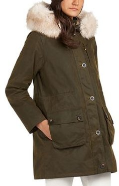 Nightingale Faux Fur Trim Waxed Cotton Jacket