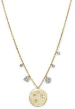14K Yellow Gold Diamond Star Coin Necklace, 18