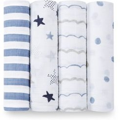 Baby Boys' Rock Star Swaddles, 4 Pack