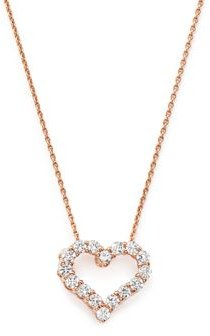 Diamond Heart Pendant Necklace in 14K Rose Gold, .25 ct. t.w. - 100% Exclusive
