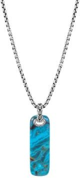 Sterling Silver Classic Chain Chrysocolla Bar Pendant Necklace, 26