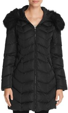 Gwen Faux Fur Trim Quilted Puffer Coat