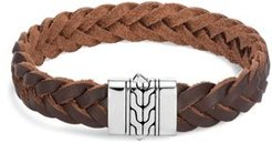 Sterling Silver & Brown Leather Classic Chain Bracelet
