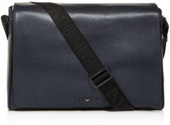 Emporio Armani Vitello Bottalato Coated Leather Messenger Bag
