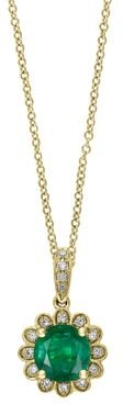 Emerald & Diamond Flower Pendant Necklace in 14K Yellow Gold, 18 - 100% Exclusive
