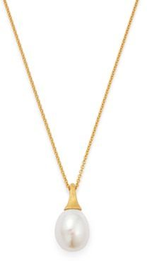 18K Yellow Gold Africa Freshwater Pearl Pendant Necklace, 16.75
