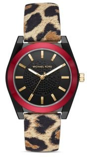 Channing Animal-Print Leather Strap Watch, 40mm