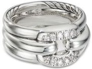 Sterling Silver Cushion Link Ring with Diamonds