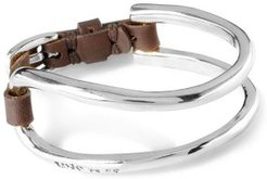 It's Electrifying Double Cuff & Leather Statement Bracelet