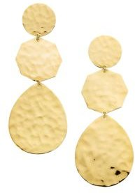 18K Yellow Gold Classico Crinkle Hammered Crazy 8's Drop Earrings